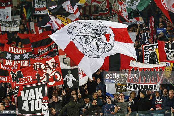 fans of Ajax supporters Vak 410 during the UEFA Champions League group f match between Ajax Amsterdam and Barcelona on November 4 2014 at the...