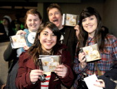 Fans of Alex Day await the artist signing copies of his new single 'Lady Godiva' at HMV on April 3 2012 in Manchester England
