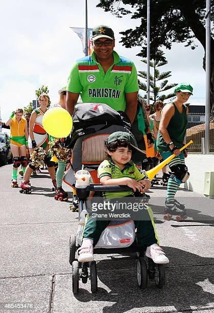 Fans of all ages come along to support their team during the 2015 ICC Cricket World Cup match between South Africa and Pakistan at Eden Park on March...