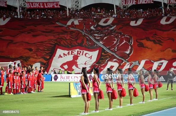 Fans of America de Cali display a giant flag prior to a match between America de Cali and Bucaramanga as part of fourth round of Quadrangular Group A...