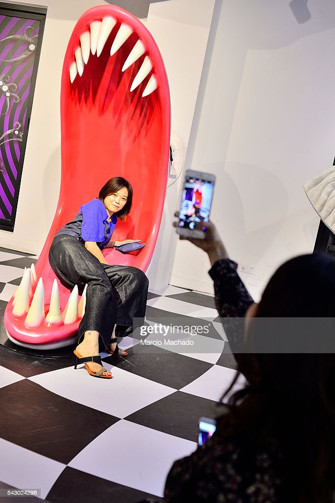 Fans of American Film Director Tim Burton taking selfies during the launch of The World of Tim Burton on June 25, 2016 in Shanghai, China.