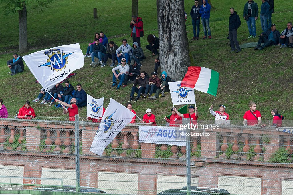 Fans of AMV Augusta look on during the World Superbikes - Race at Enzo & Dino Ferrari Circuit on May 10, 2015 in Imola, Italy.