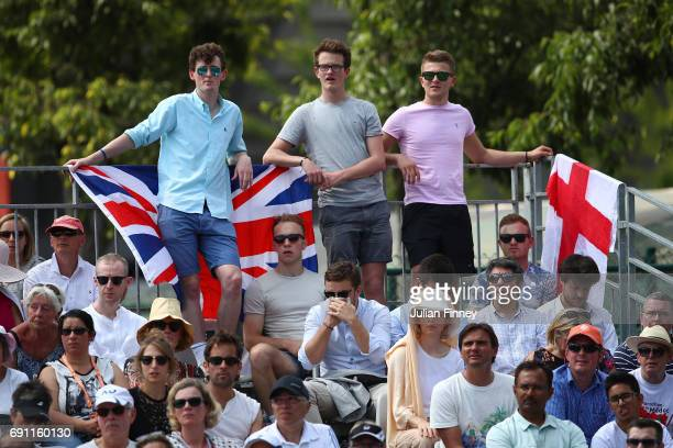 Fans of Andy Murray of Great Britain look on during the men's singles second round match against Martin Klizan of Slovakia on day five of the 2017...