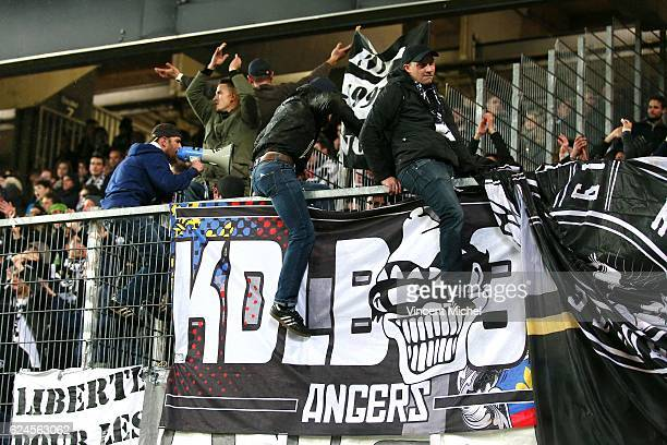 Fans of Angers during the Ligue 1 match between Stade Rennais and Sco Angers at Stade de la Route de Lorient on November 19 2016 in Rennes France