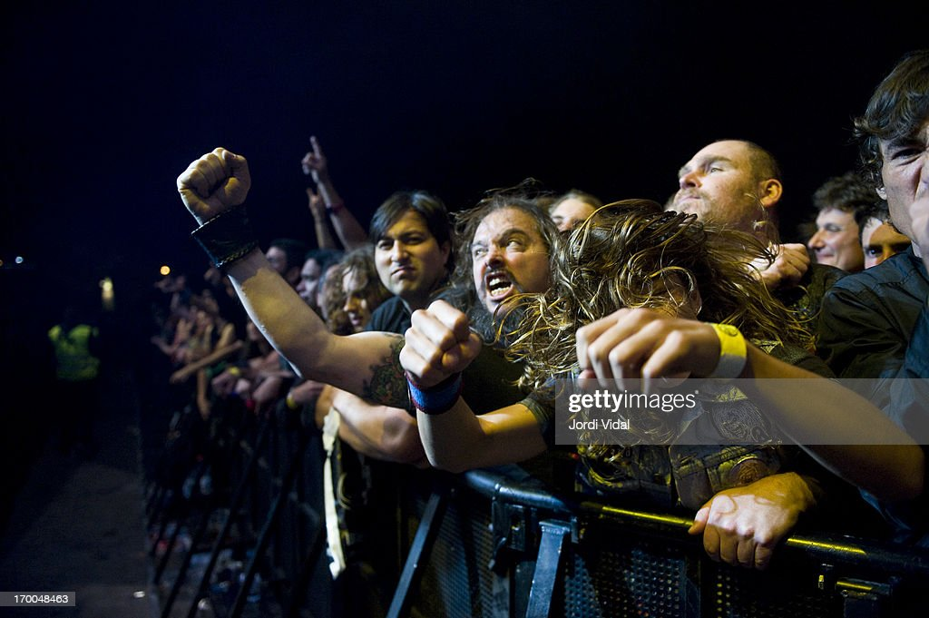 Fans of Anthrax during Sonisphere Festival 2013 at Parc Del Forum on June 1, 2013 in Barcelona, Spain.