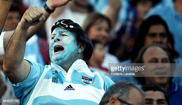 Fans of Argentina cheer for their team during a match between Argentina and South Africa as part of The Rugby Championship at Padre Ernesto...