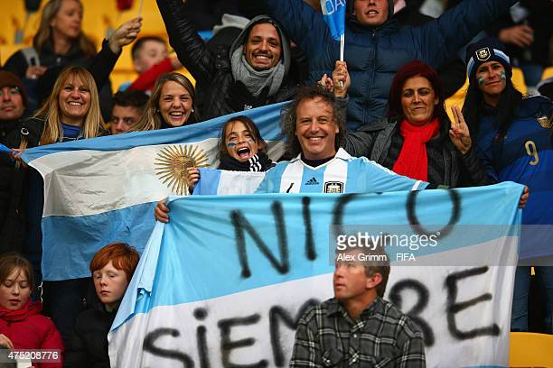 Fans of Argentina enjoy the atmosphere prior to the FIFA U20 World Cup New Zealand 2015 Group B match between Argentina and Panama at Wellington...