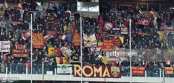 Fans of AS Roma during the Serie A match between AC Cesena and AS Roma at Dino Manuzzi Stadium on March 22 2015 in Cesena Italy