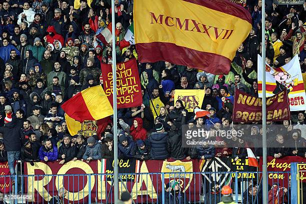 Fans of AS Roma during the Serie A match between Empoli FC and AS Roma at Stadio Carlo Castellani on February 27 2016 in Empoli Italy