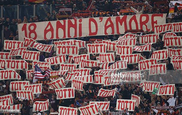 Fans of AS Roma with banner 'eighteen years of love' in support of Francesco Totti during the Serie A match between AS Roma and Juventus FC at Stadio...