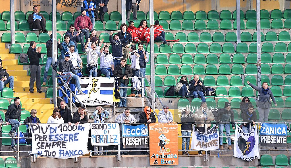 Fans of Atalanta show their support during the Serie A match between US Citta di Palermo and Atalanta BC at Stadio Renzo Barbera on February 3, 2013 in Palermo, Italy.