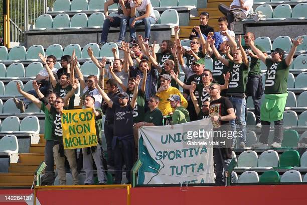 Fans of Avellino Calcio during the Serie A match between AC Siena and Udinese Calcio at Artemio Franchi Mps Arena Stadium on April 1 2012 in Siena...