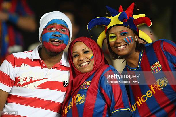 Fans of Barcelona are seen during the FIFA Club World Cup semifinal match between Atlante and Barcelona at the t the Zayed Sports City stadium on...