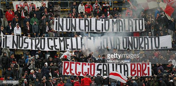Fans of Bari during the Serie B match between AS Bari and Reggina Calcio at Stadio San Nicola on January 25 2014 in Bari Italy