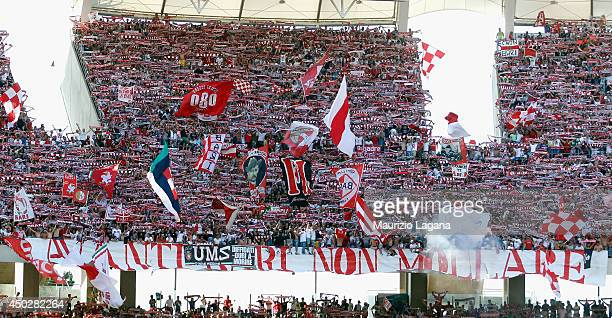Fans of Bari during the Serie B playoff match between AS Bari and US Latina at Stadio San Nicola on June 8 2014 in Bari Italy