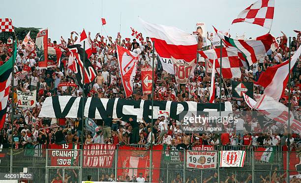 Fans of Bari during the Serie B playoff match between US Latina and AS Bari at Stadio Domenico Francioni on June 11 2014 in Latina Italy