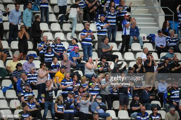Fans of Bath during the European Challenge Cup semi final between Stade Francais and Bath on April 23 2017 in Paris France