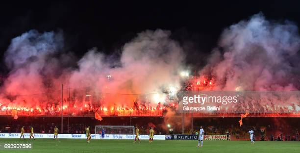 Fans of Benevento Calcio during the Serie B Play off Final match between Benevento Calcio and Carpi FC at Stadio Ciro Vigorito on June 8 2017 in...