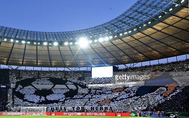 Fans of Berlin are seen during the DFB Cup semi final match between Hertha BSC Berlin and Borussia Dortmund at Olympia Stadium on April 20 2016 in...
