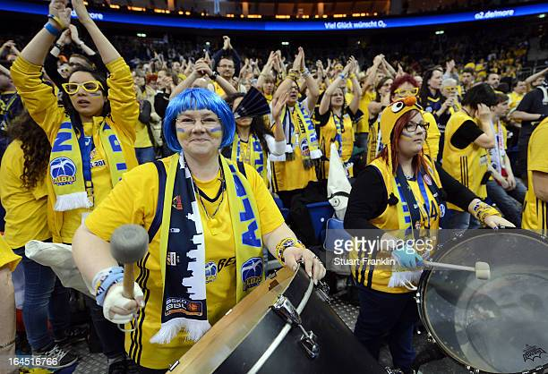 Fans of Berlin cheer during the Beko BBLTop Four final game between Ratiopharm Ulm and Alba Berlin at O2 World on March 24 2013 in Berlin Germany