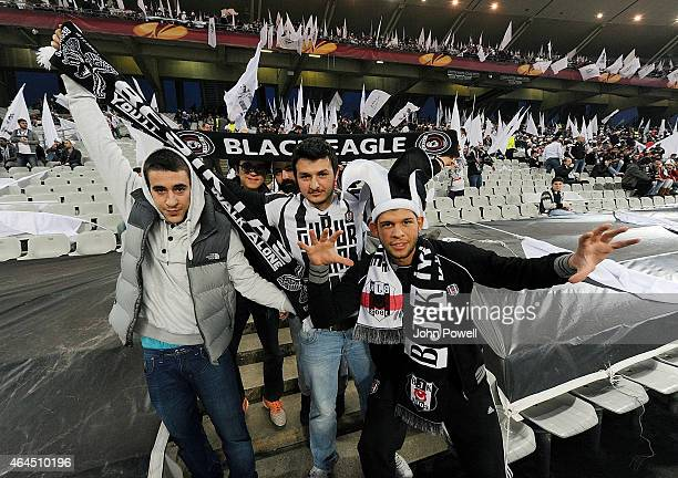 Fans of Besiktas JK before the UEFA Europa League Round of 32 match between Besiktas JK and Liverpool FC on February 26 2015 in Istanbul Turkey