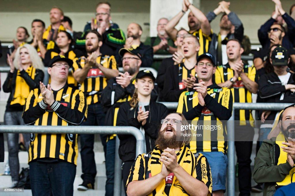 Fans of BK Hacken during the Allsvenskan match between BK Hacken and Jonkopings Sodra IF at Bravida Arena on August 27, 2017 in Gothenburg, Sweden.