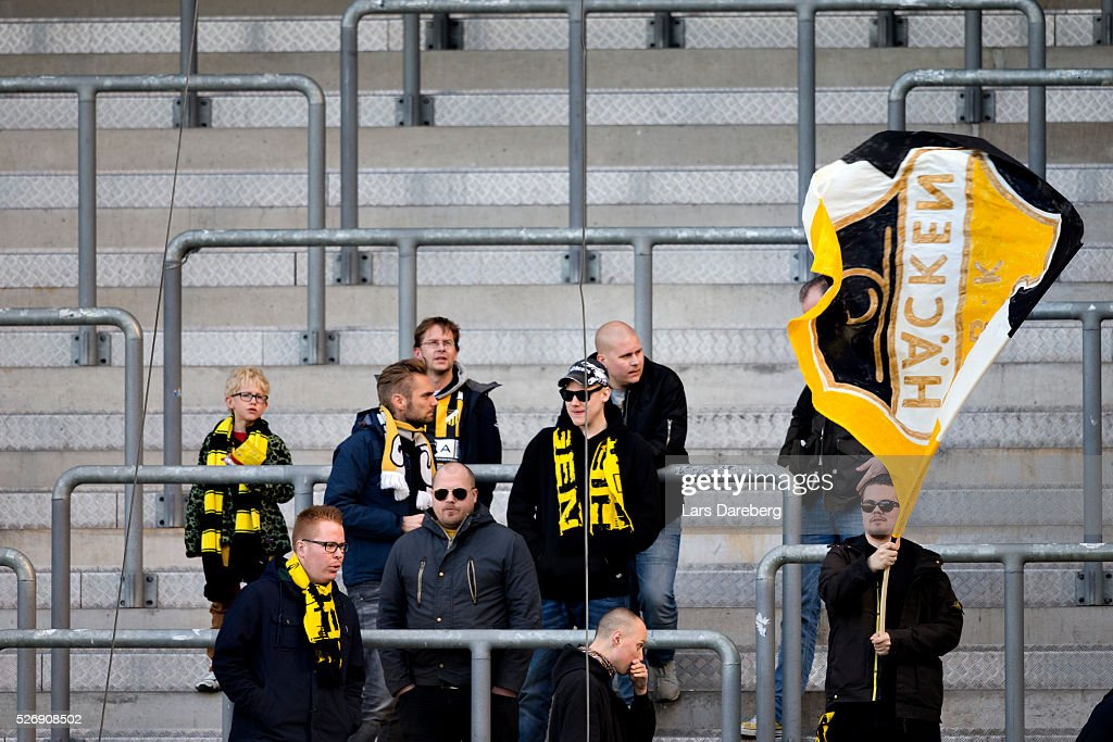 Fans of BK Hacken during the Allsvenskan match between Malmo FF and BK Hacken at Swedbank Stadion on May 1, 2016 in Malmo, Sweden.