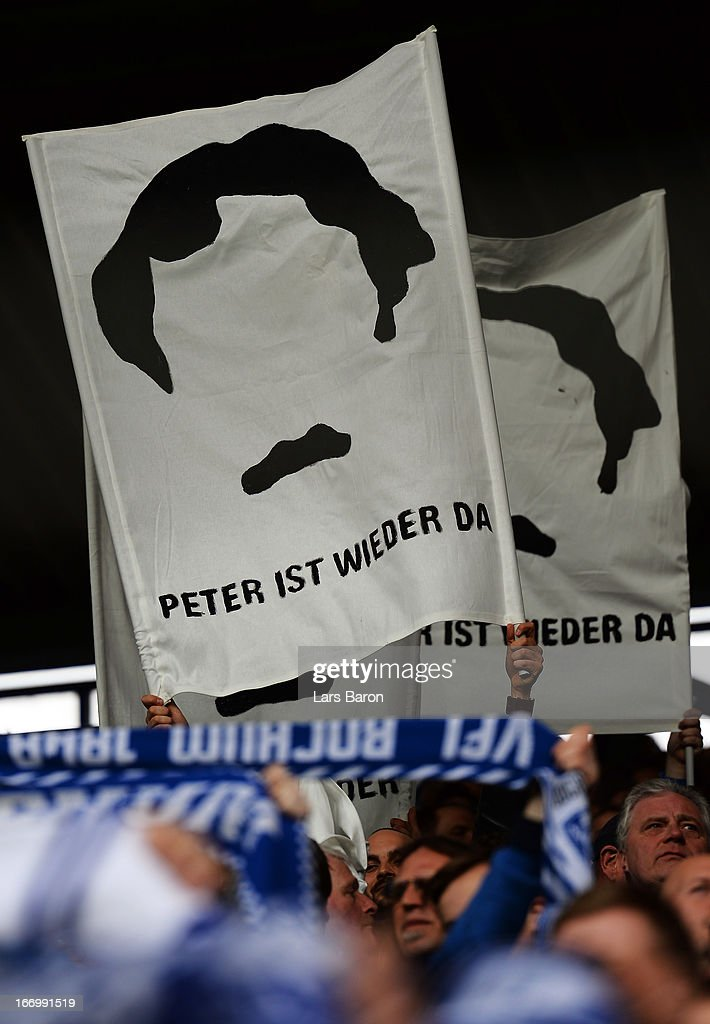 Fans of Bochum are seen during the Second Bundesliga match betweeen VfL Bochum and FC St Pauli at Rewirpower Stadium on April 19 2013 in Bochum...