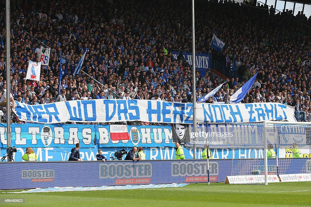Fans of Bochum show a banner against Leipzig during the Second Bundesliga match between VfL Bochum and RB Leipzig at Rewirpower Stadium on April 12...