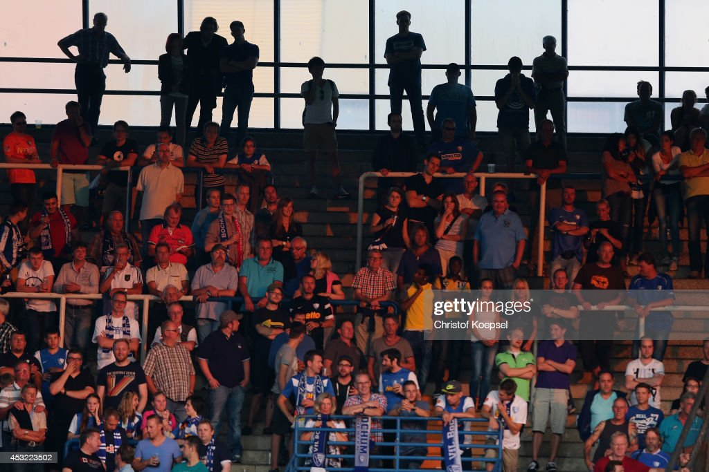 Fans of Bochum watch the pre-season friendly match between VfL Bochum and FC Schalke 04 at Rewirpower Stadium on August 5, 2014 in Bochum, Germany.