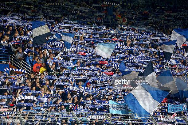Fans of Bochum wave flags during the Second Bundesliga match between VfL Bochum and Fortuna Duesseldorf at Rewirpower Stadium on September 25 2014 in...
