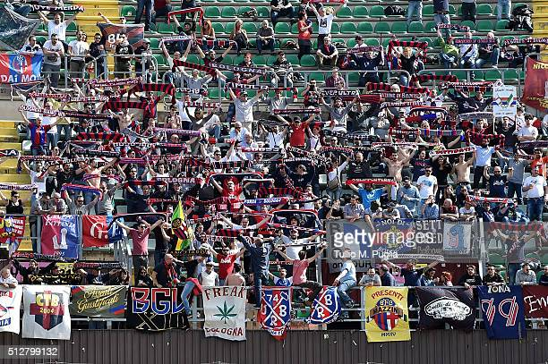 Fans of Bologna show their support during the Serie A match between US Citta di Palermo and Bologna FC at Stadio Renzo Barbera on February 28 2016 in...