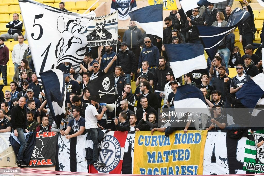 Fans of Bordeaux during the Ligue 1 match between As Monaco and Girondins Bordeaux at Louis II Stadium on March 11, 2017 in Monaco, Monaco.