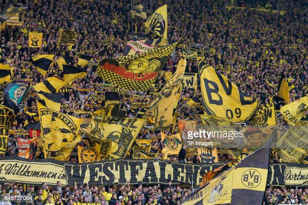 Fans of Borussia Dortmund are seen during the Bundesliga match between Borussia Dortmund and Bayer 04 Leverkusen at Signal Iduna Park on March 4 2017...
