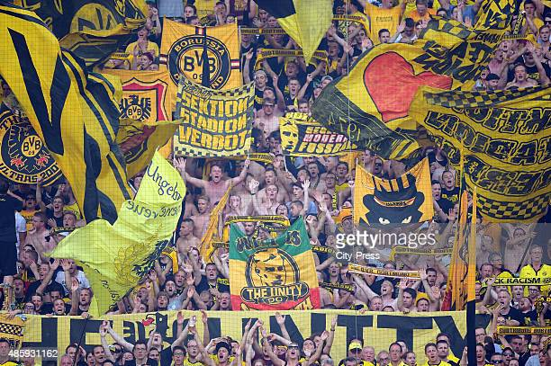 fans of Borussia Dortmund during the game between Borussia Dortmund and Hertha BSC on August 30 2015 in Dortmund Germany