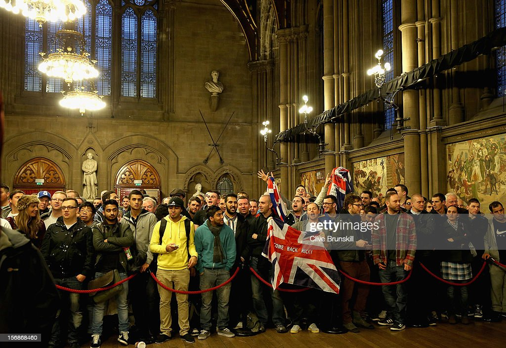 Fans of boxer Ricky Hatton give their support during his weigh in prior to his bout with Vyacheslav Senchenko at at the Manchester Town Hall on November 23, 2012 in Manchester, England. Hatton has his comeback fight against Vyacheslav Senchenko on November 24th.