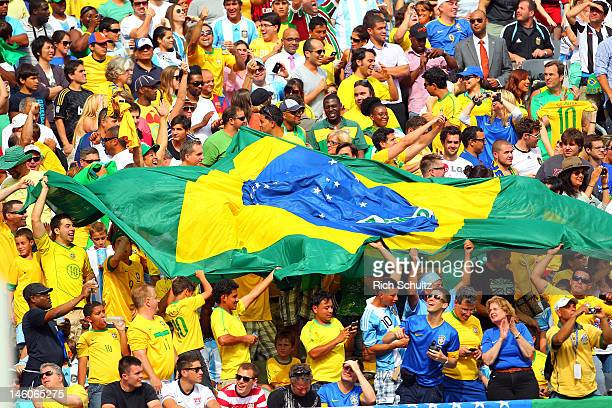 Fans of Brazil celebrate a goal during the second half of an international friendly soccer match against Argentina on June 9 2012 at MetLife Stadium...