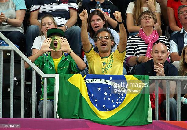 Fans of Brazil cheer during the Women's Basketball Preliminary Round match against Canada on Day 7 of the London 2012 Olympic Games at Basketball...