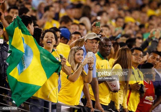 Fans of Brazil cheer during their match against Ecuador at MetLife Stadium on September 9 2014 in East Rutherford New Jersey