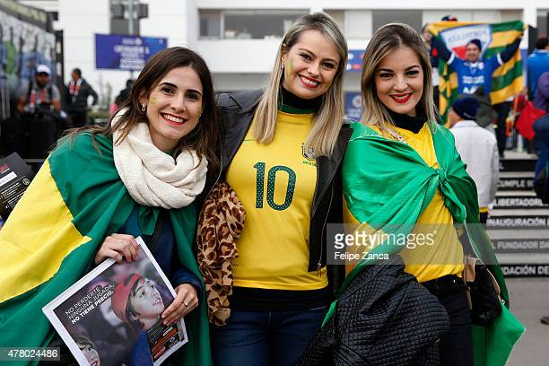 Fans of Brazil enjoy the atmosphere prior the 2015 Copa America Chile Group C match between Brazil and Venezuela at Monumental David Arellano Stadium...