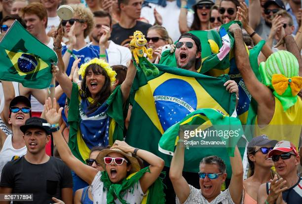 Fans of Brazil give their support during the Men's Quarterfinal match between Canada and Brazil on August 05 2017 in Vienna Austria
