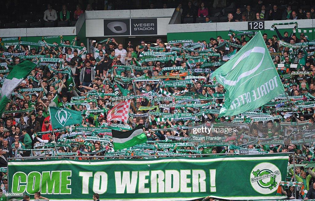 Fans of Bremen during the Bundesliga match between Werder Bremen and 1899 Hoffenheim at Weserstadion on April 19 2014 in Bremen Germany