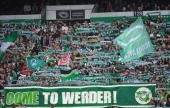Fans of Bremen during the Bundesliga match between Werder Bremen and 1899 Hoffenheim at Weserstadion on April 19 2014 in Bremen Germany