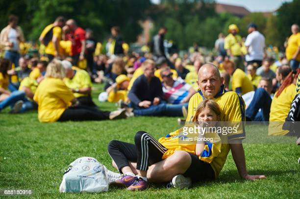 Fans of Brondby IF cheer and relaxed in the Falledparken prior to the Danish Cup Final DBU Pokalen match between FC Copenhagen and Brondby IF at...