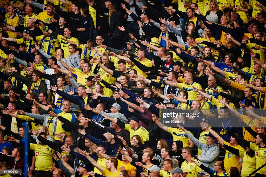 Fans of Brondby IF cheer during the Danish Alka Superliga match between Brondby IF and FC Midtjylland at Brondby Stadion on July 16, 2017 in Brondby, Denmark.