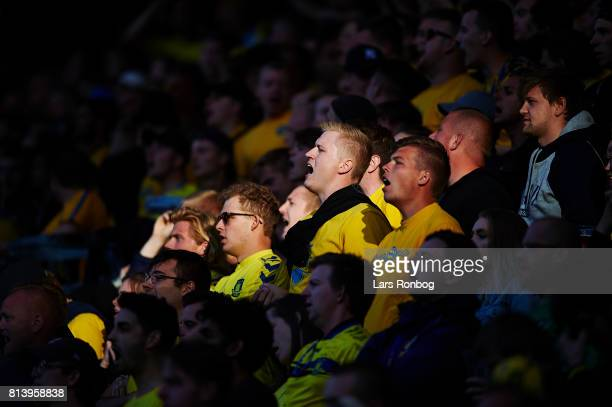 Fans of Brondby IF cheer during the UEFA Europa League Qualification match between Brondby IF and VPS Vaasa at Brondby Stadion on July 13 2017 in...