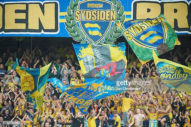 Fans of Brondby IF during the Danish Alka Superliga match between Brondby IF and Esbjerg fB at Brondby Stadion on July 17 2016 in Brondby Denmark