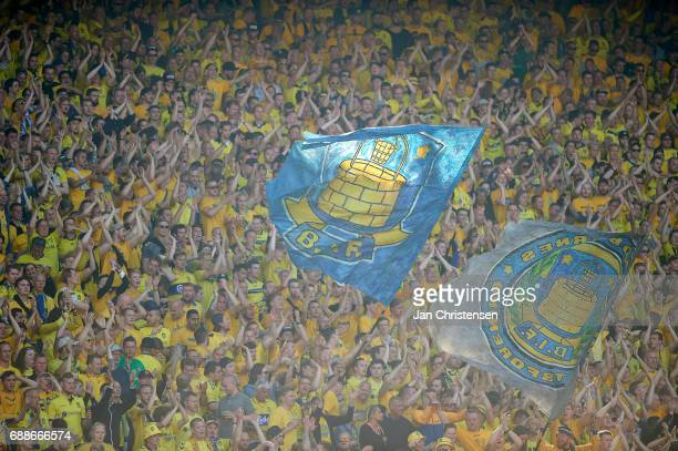 Fans of Brondby IF during the Danish Cup Final DBU Pokalen match between FC Copenhagen and Brondby IF at Telia Parken Stadium on May 25 2017 in...