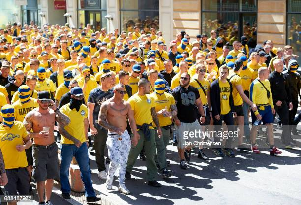 Fans of Brondby IF in the streets prior to the Danish Cup Final DBU Pokalen match between FC Copenhagen and Brondby IF at Telia Parken Stadium on May...
