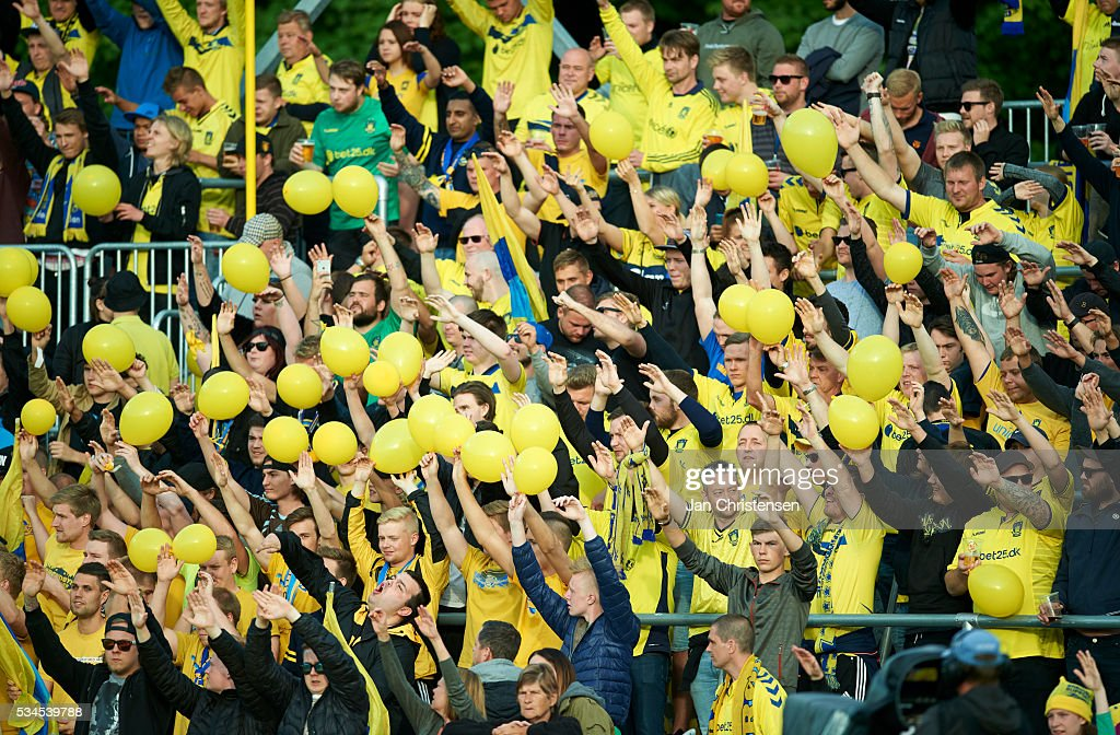 Fans of Brondby IF prior to the Danish Alka Superliga match between Hobro IK and Brondby IF at DS Arena on May 26, 2016 in Hobro, Denmark.